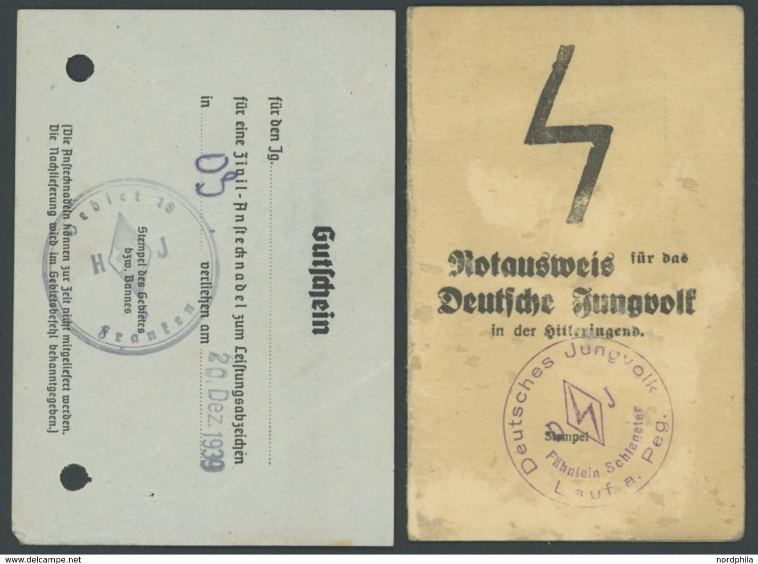 DT. GESCHICHTE/PROPAGANDA 1919-45 1939, Notausweis Für Das Deutsche Jungvolk In Der Hitlerjugend Sowie Gutschein Für Ein - Unclassified