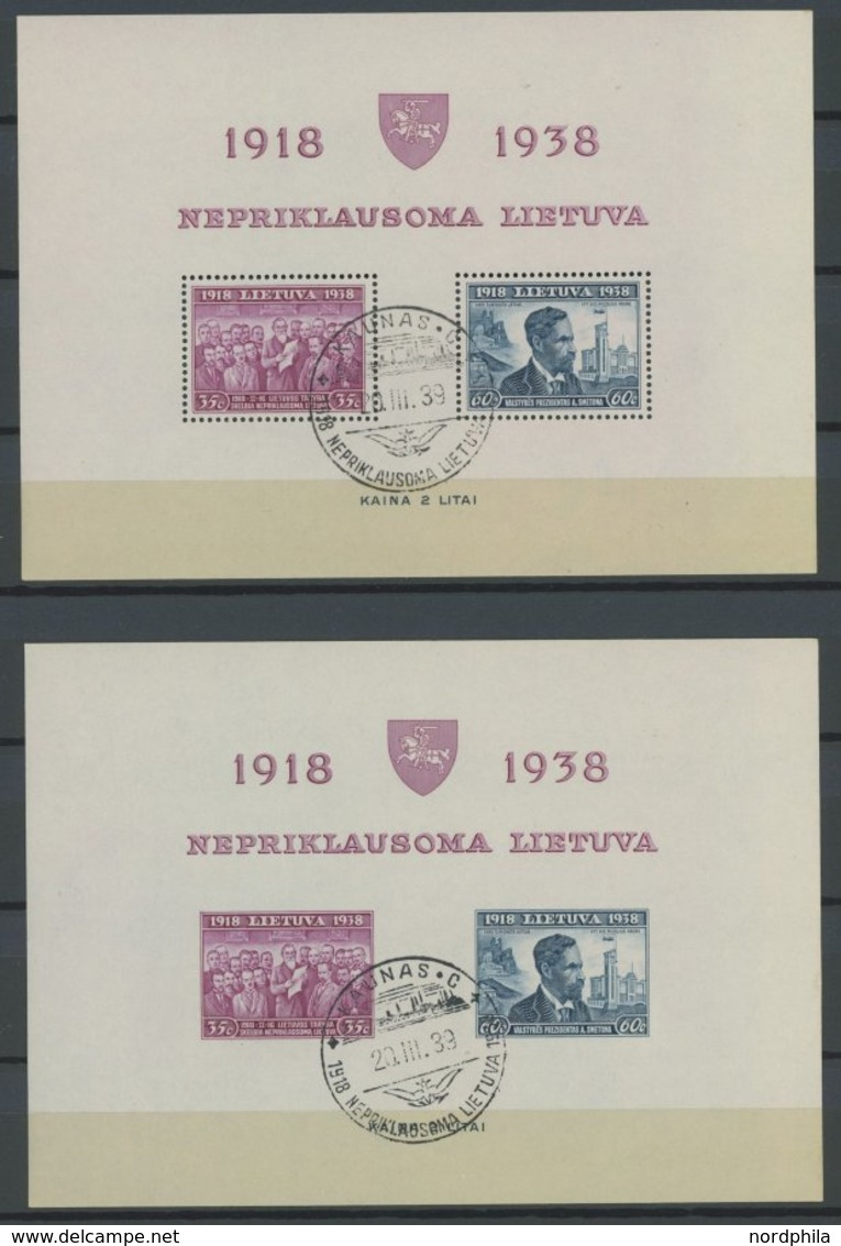LITAUEN Bl. 1A/B O, 1939, Blockpaar 20 Jahre Republik, Sonderstempel, Pracht, Mi. 185.- - Litauen
