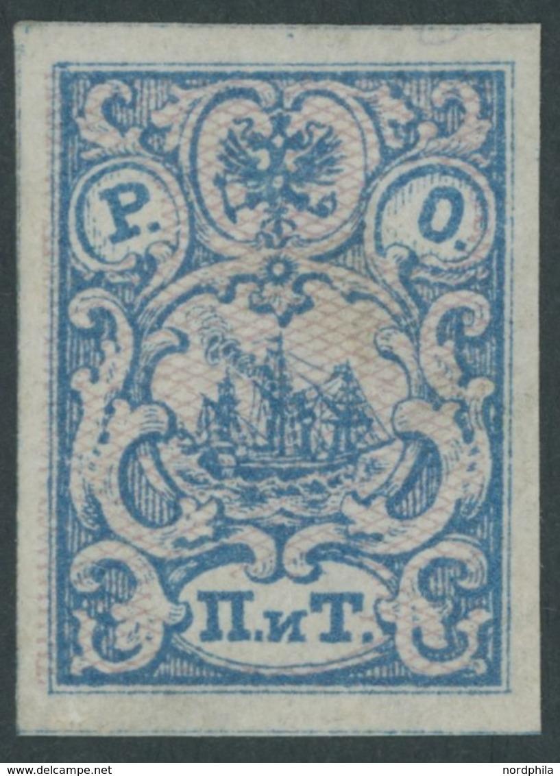 POST IN DER LEVANTE 4II *, 1866, 2 Pia. Blau/rosa Genetzt, Ohne Senkrechte Schraffur, Falzreste, Pracht, Mi. 150.- - Levant