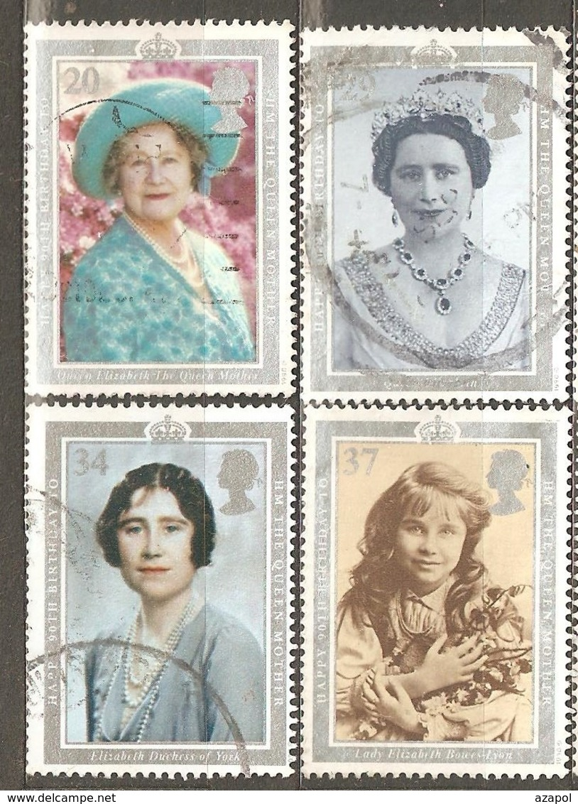 Great Britain: Full Set Of 4 Used Stamps, 90 Years Of Queen Mother, 1990, Mi#1275-1278(2) - 1952-.... (Elizabeth II)