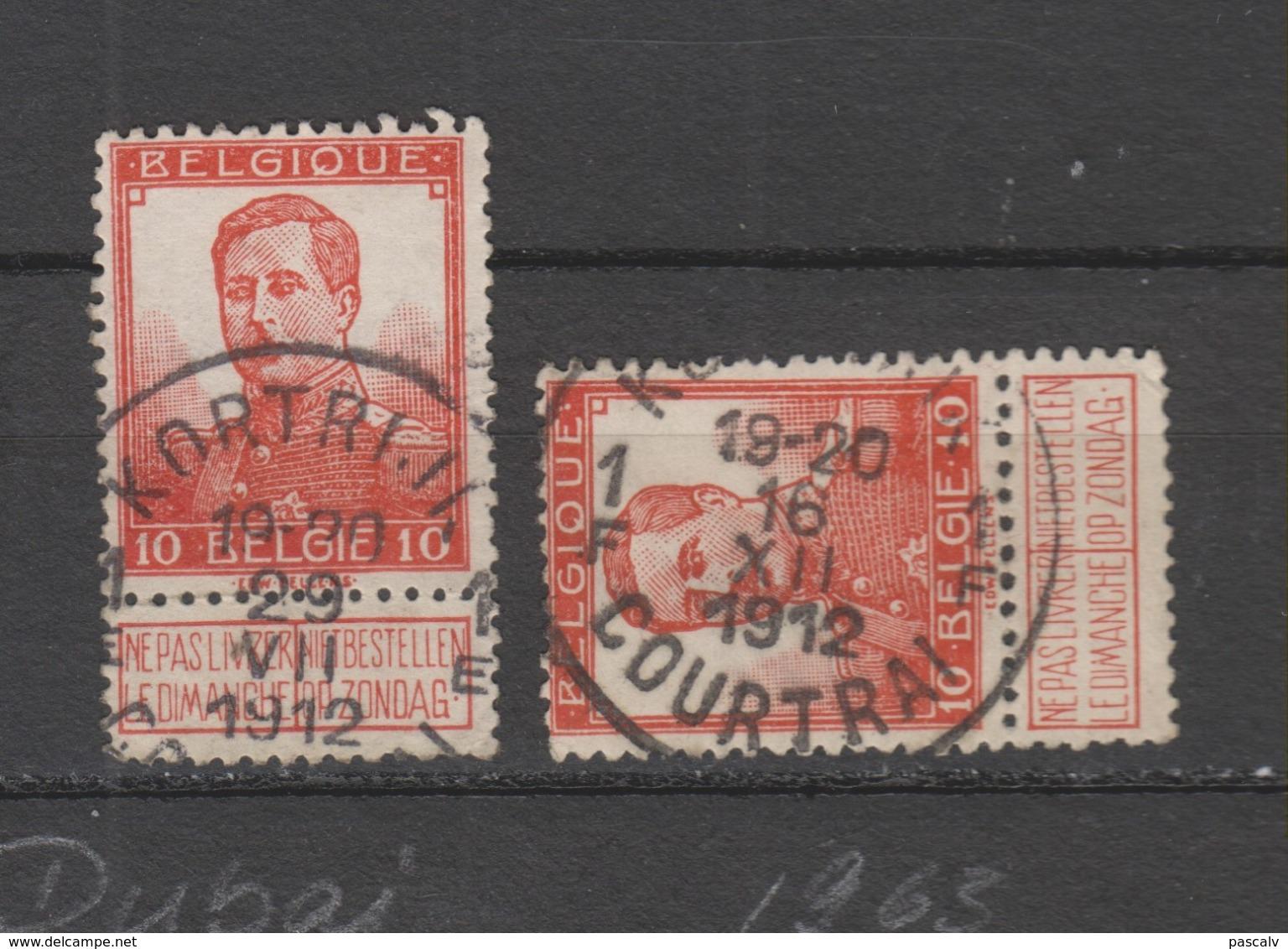 COB 111 Oblitération Centrale COURTRAI - KORTRIJK 1E - 1F - 1912 Pellens
