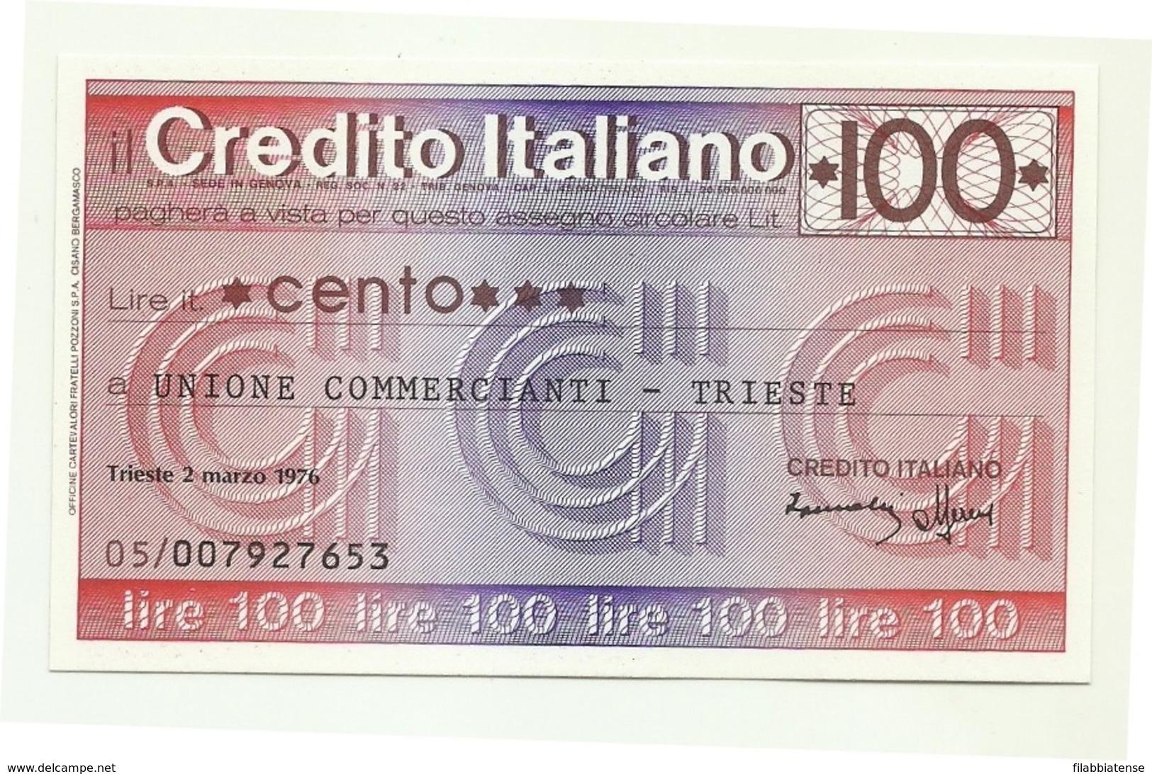 1976 - Italia - Credito Italiano - Unione Commercianti - Trieste - [10] Assegni E Miniassegni
