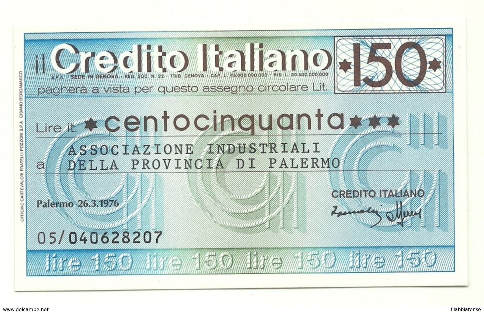 1976 - Italia - Credito Italiano- Associazione Industriali Della Provincia Di Palermo - [10] Cheques En Mini-cheques