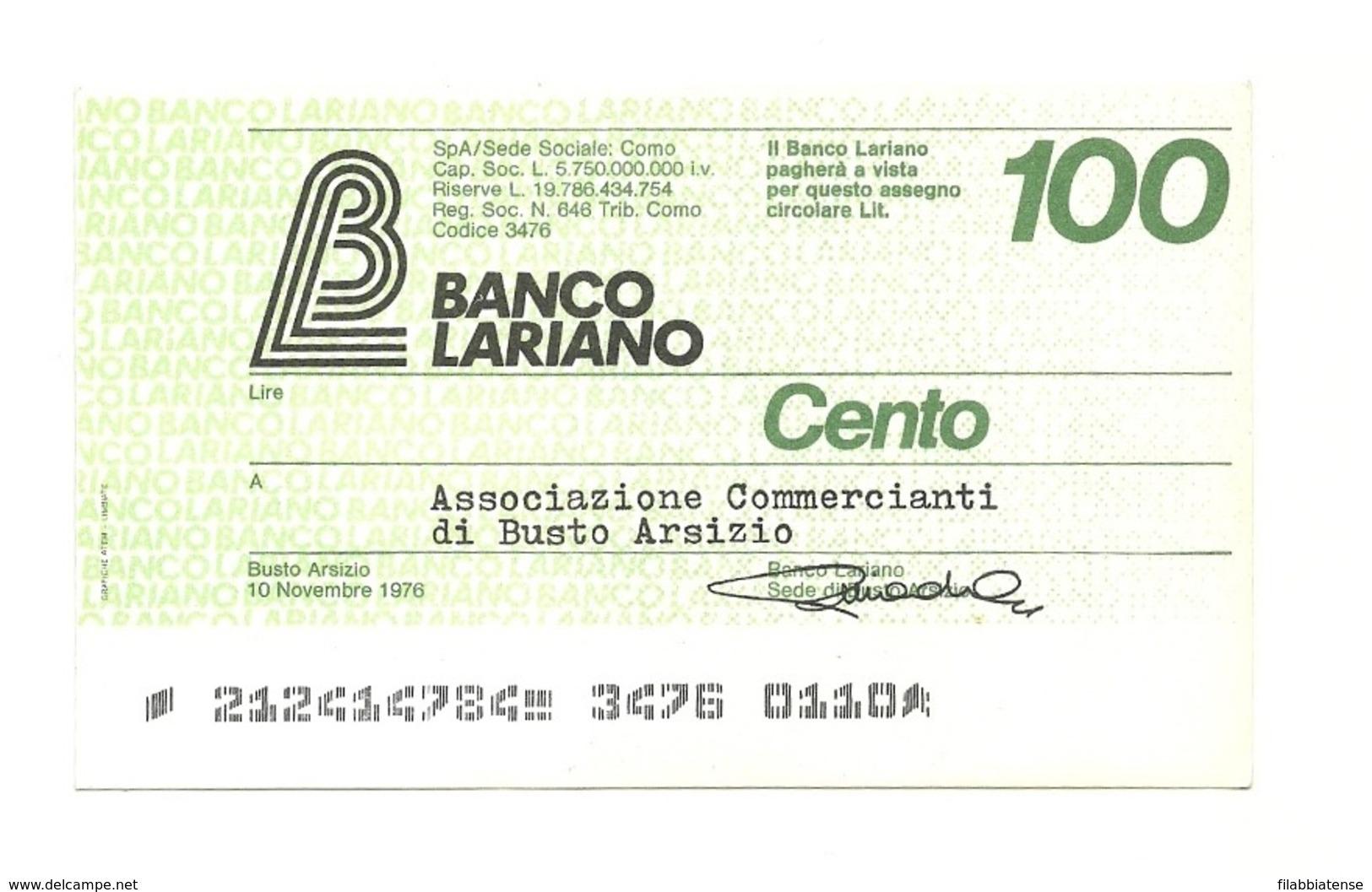 1976 - Italia - Banco Lariano - Associazione Commercianti Di Busto Arsizio - [10] Assegni E Miniassegni