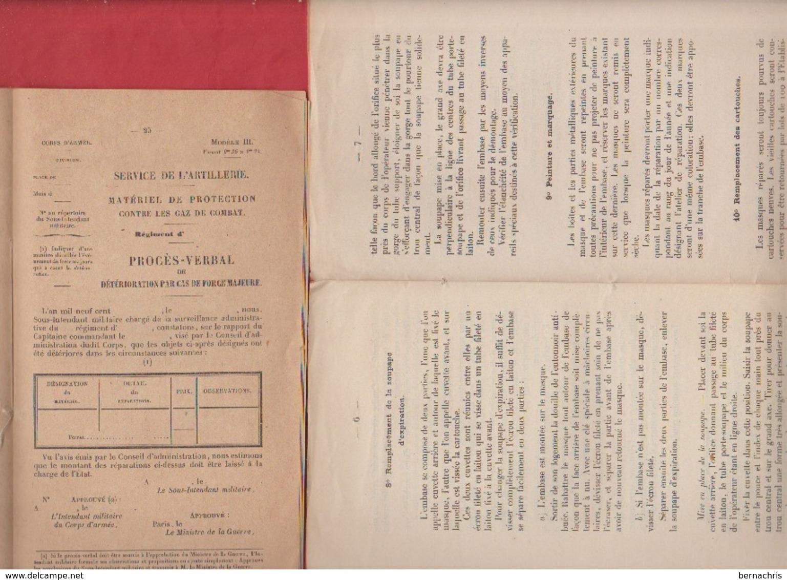 Lot De 2 Fascicules D'artillerie Sur Les Appareils De Protection Contre Les Gaz De Combat 1919 Et 1920 - Libri, Riviste & Cataloghi