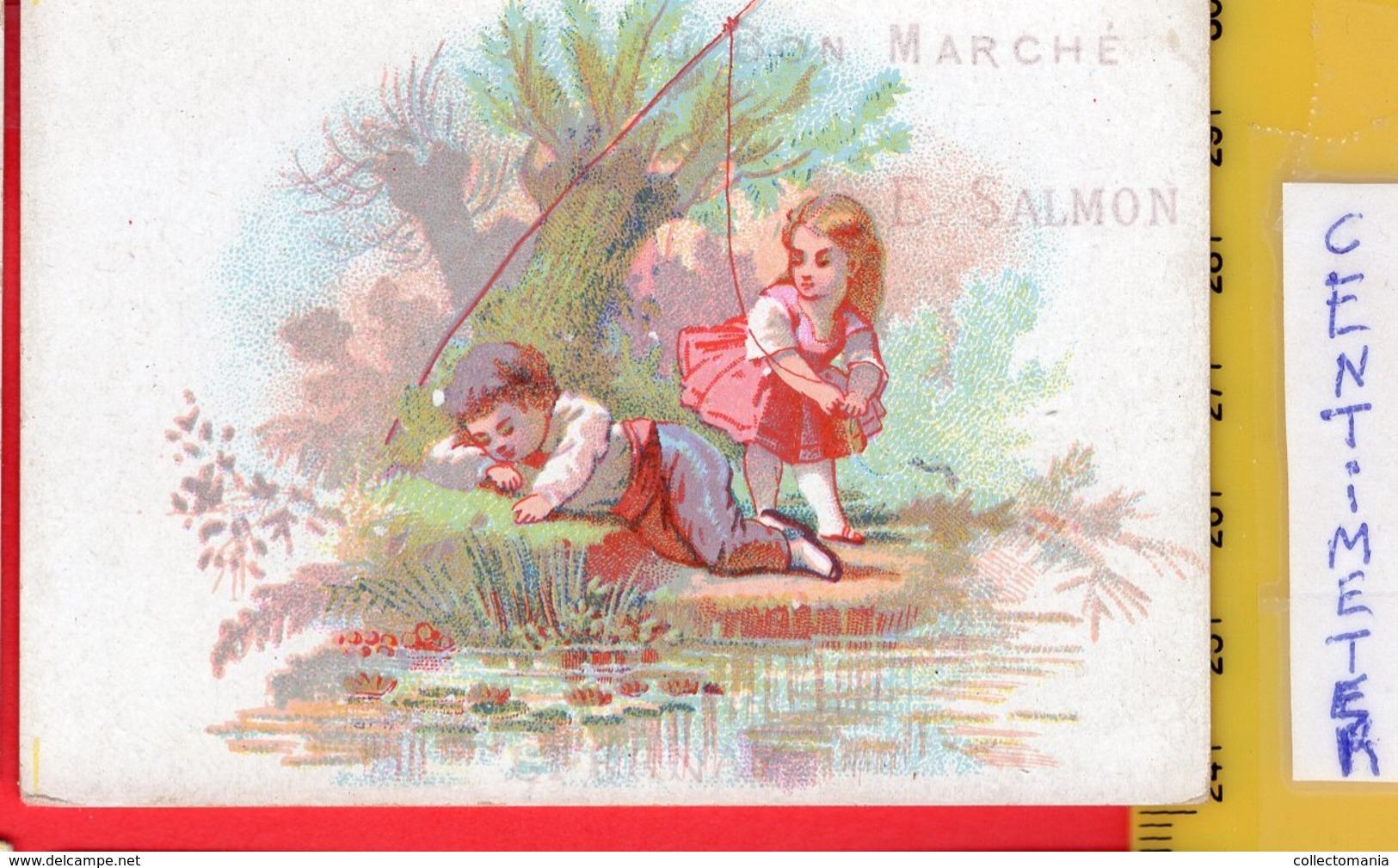 12 Chromos AU BON MARCHE Aprox. 1872, PUB Printer DANGIVILLE Paris Série Complet  E. Salmon Epernay  ALL 9,6cm X 6,5cm - Au Bon Marché