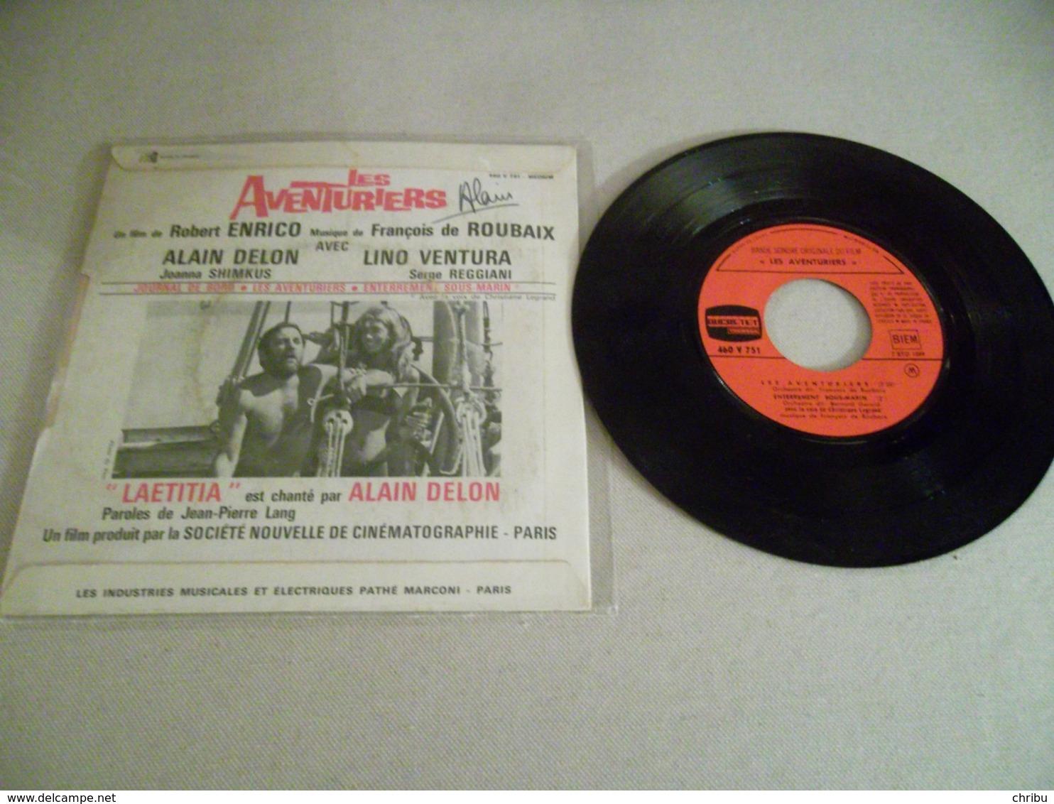 45 T Bande Originale Les Aventuriers Alain DELON Chante Laetitia Ducretet Thomson 460v 751 Medium - Filmmusik