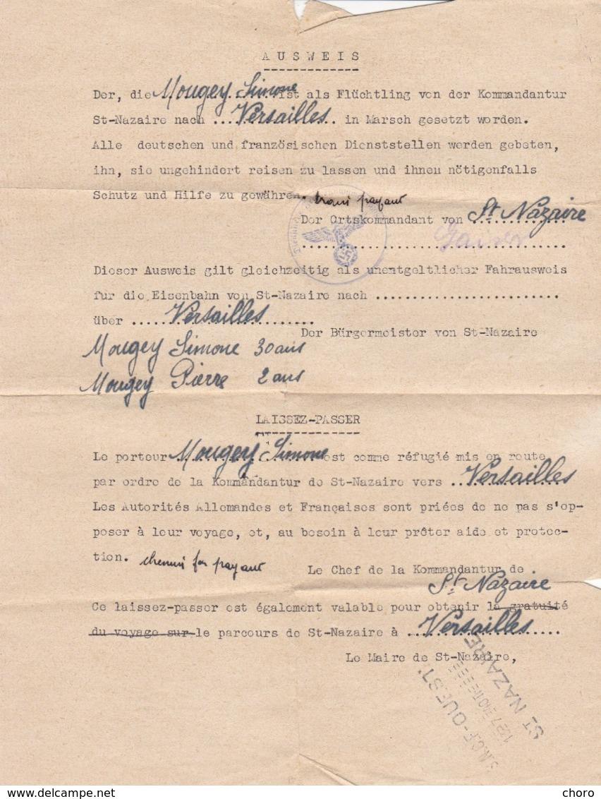LAISSER PASSER PAR ORDRE DE LA KOMMANDANTUR DE ST NAZAIRE A VERSAILLES PAR VOIE SNCF - 1940 - 1939-45