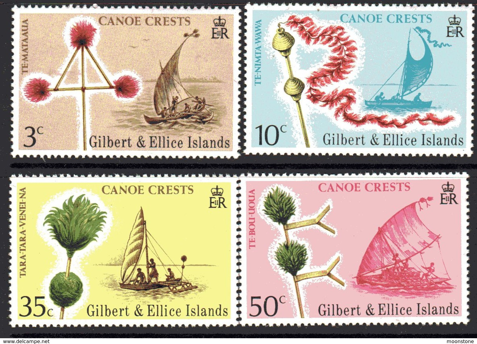 Gilbert & Ellice Islands 1974 Canoe Crests Set Of 4, MNH, SG 227/30 (BP2) - Gilbert & Ellice Islands (...-1979)