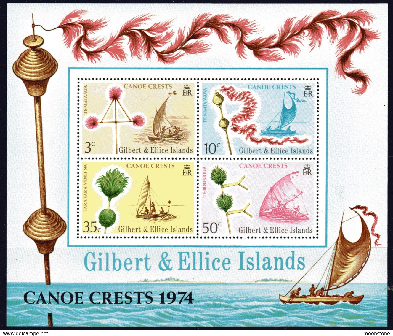 Gilbert & Ellice Islands 1974 Canoe Crests MS, MNH, SG 231 (BP2) - Gilbert & Ellice Islands (...-1979)