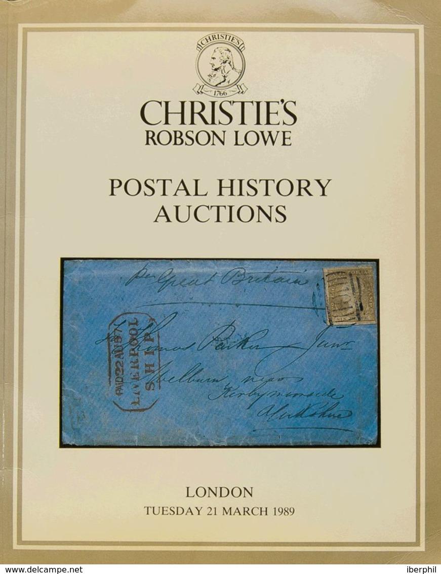 Bibliografía Mundial. 1989. Catálogo De Subasta De POSTAL HISTORY AUCTIONS, Celebrada El 21 De Marzo De 1989. Christie's - Letteratura