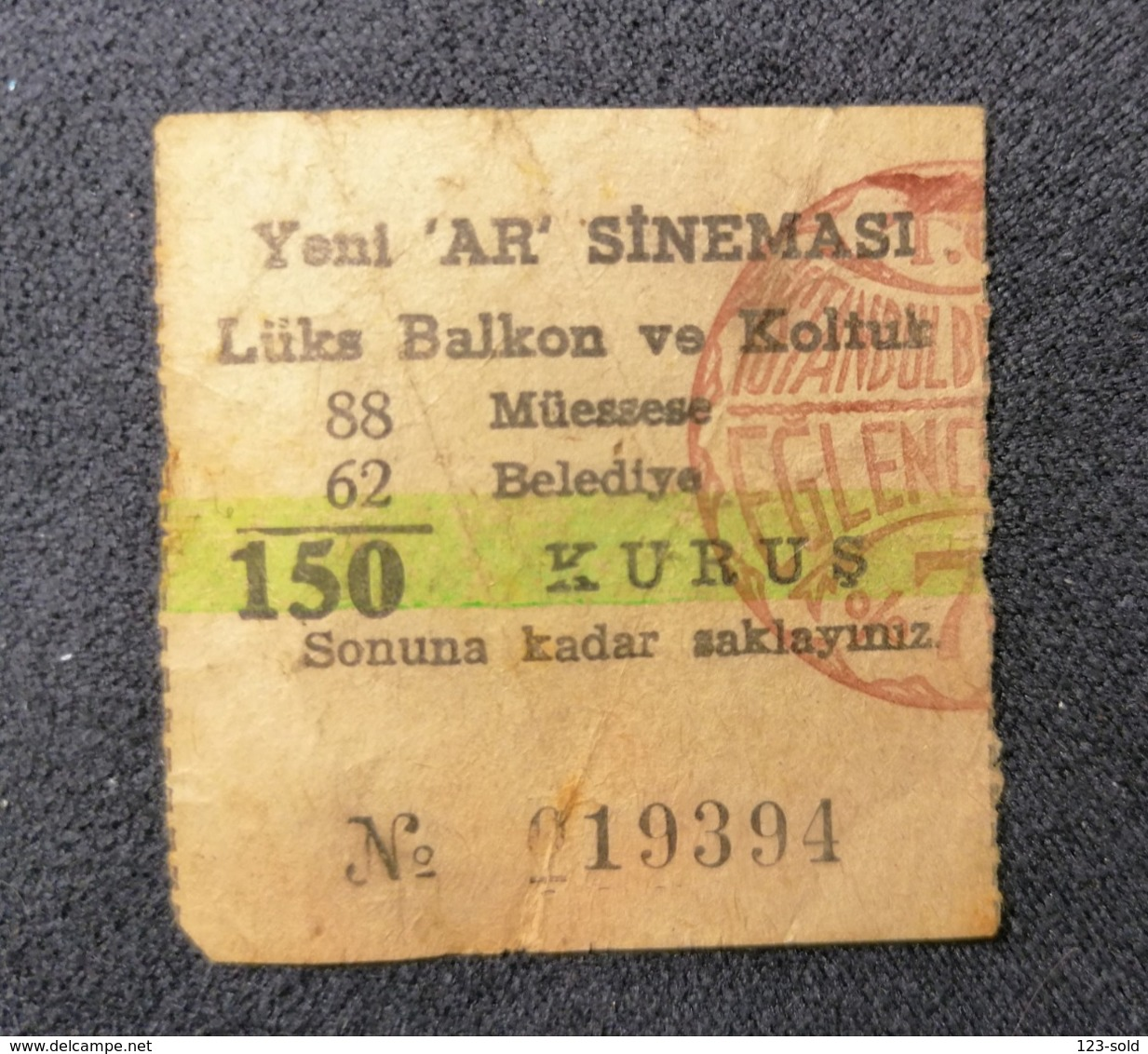 "Old Small Ticket YENY ""AR""  SINEMASI Cinema 1950's / 60's Balkon Ve Koltuk Cinema Kino - Tickets - Entradas"
