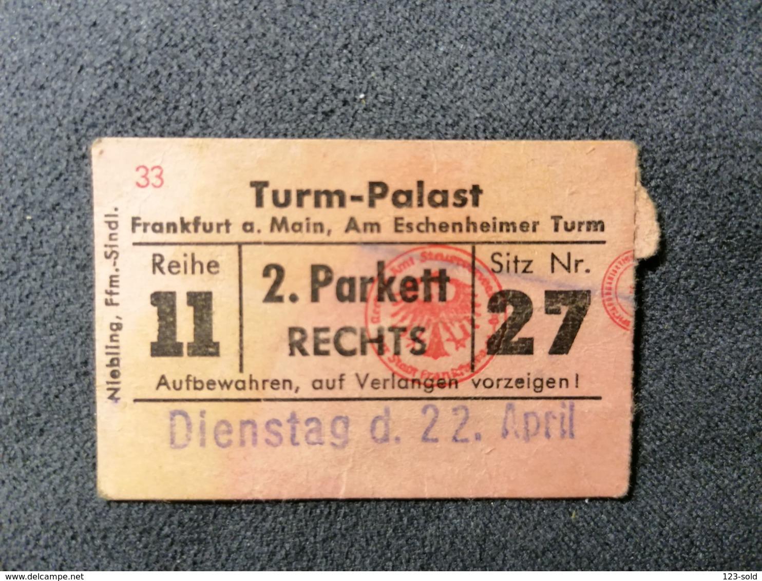 Old Small Ticket TURM PALAST Cinema 1950's / 60's Parket Cinema Kino Frankfurt Am Main Germany - Tickets - Entradas