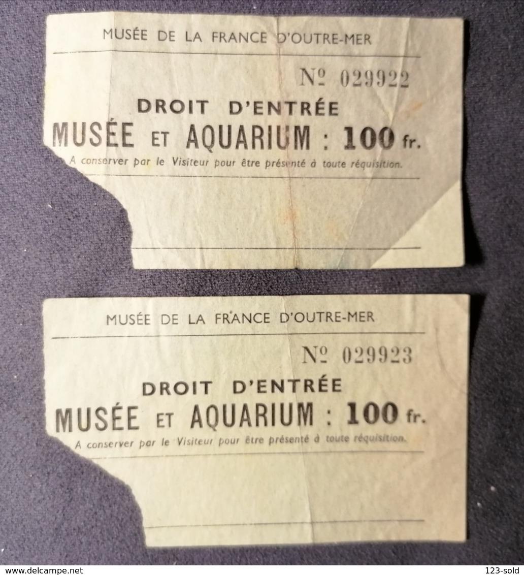 Old Two Small Ticket 1950's / 60's Musee Et Aquarium De La France D'outre - Mer  Paris - Tickets - Entradas