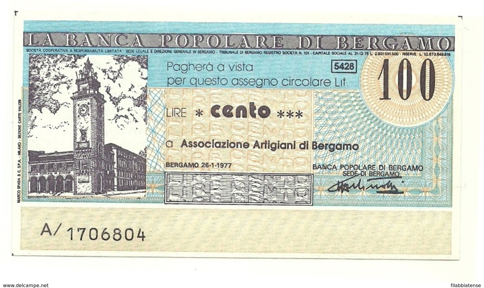 1977 - Italia - Banca Popolare Di Bergamo - Unione Artigiani Di Bergamo - [10] Assegni E Miniassegni