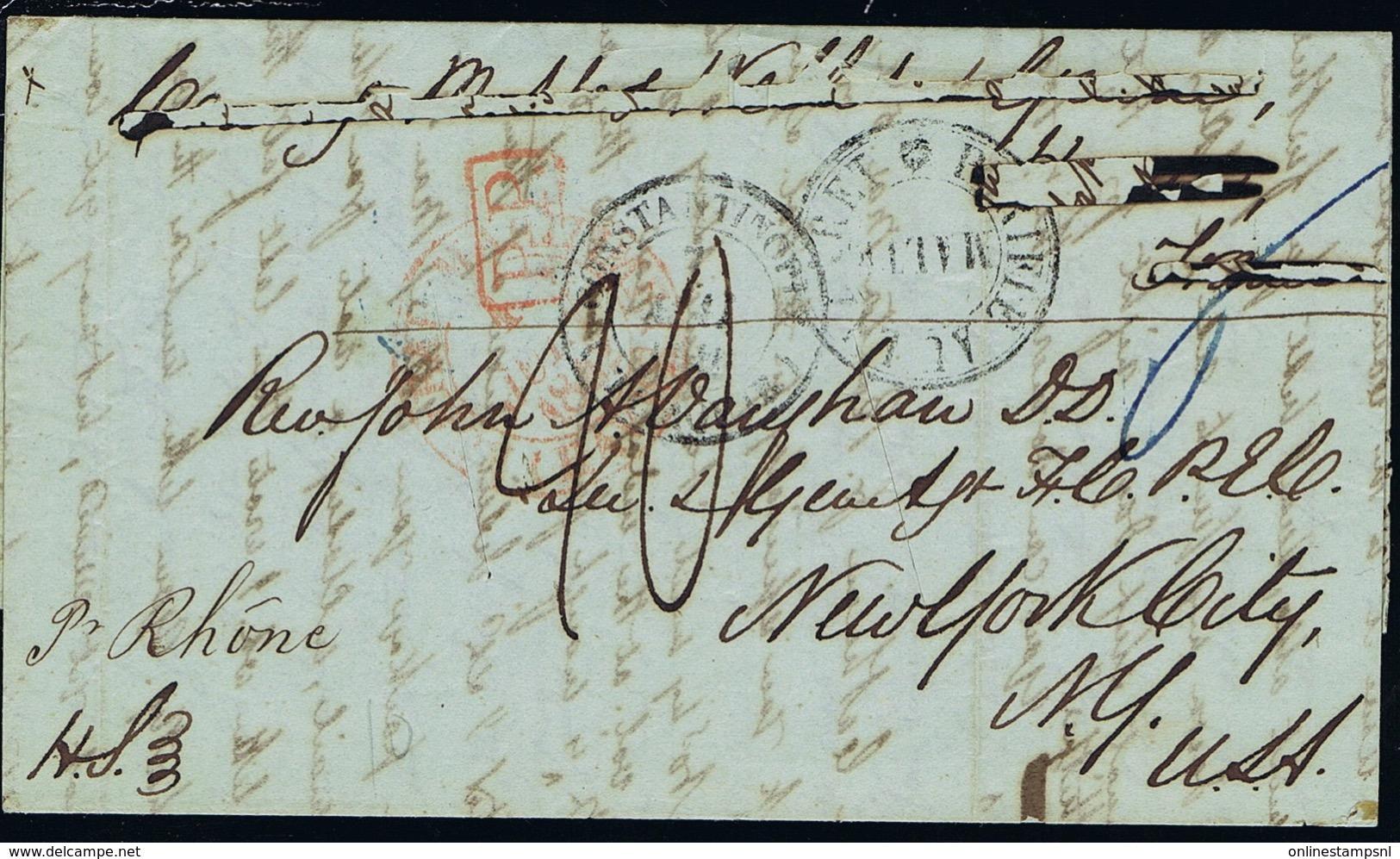 Levant Line Entire PURIFE A LAZARET MALTE Constantinople MV Rhone -> New York 1842, TB Green & Co Forwarding Agent - Marcofilie (Brieven)