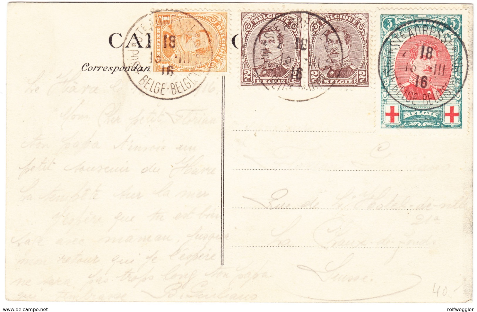 1916 Ak Mit Rotkreuz Marke Aus Saint Adresse Nach La Chaux De Fonds - 1915-1920 Albert I