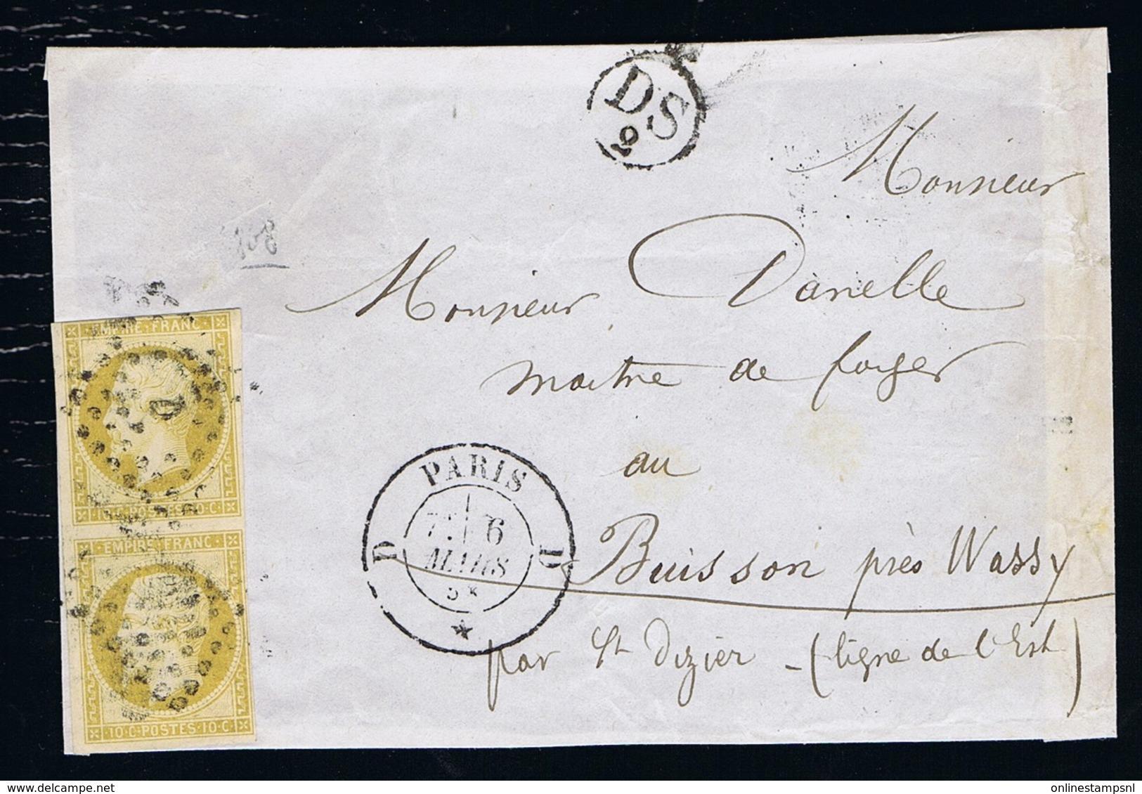 France Front Of Cover Yv 13 Vertical Pair Paris -> Buisson  Losagne D,  + 12 Mm DS 2 Cachet - 1853-1860 Napoleon III