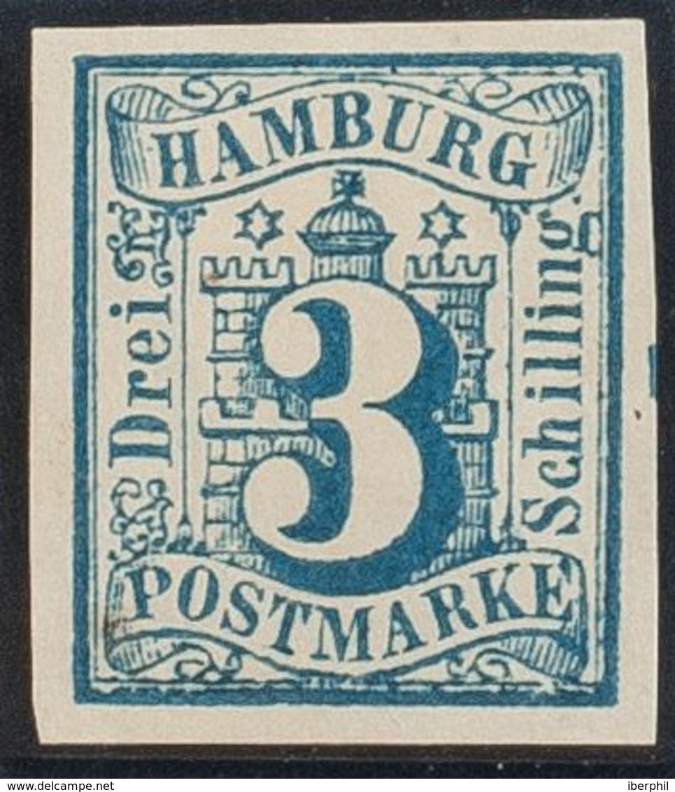 Hamburgo. (*)Yv 4. 1859. 3 S Azul. Grandes Márgenes. MAGNIFICO. (Mi4 70 Euros) - Hamburg