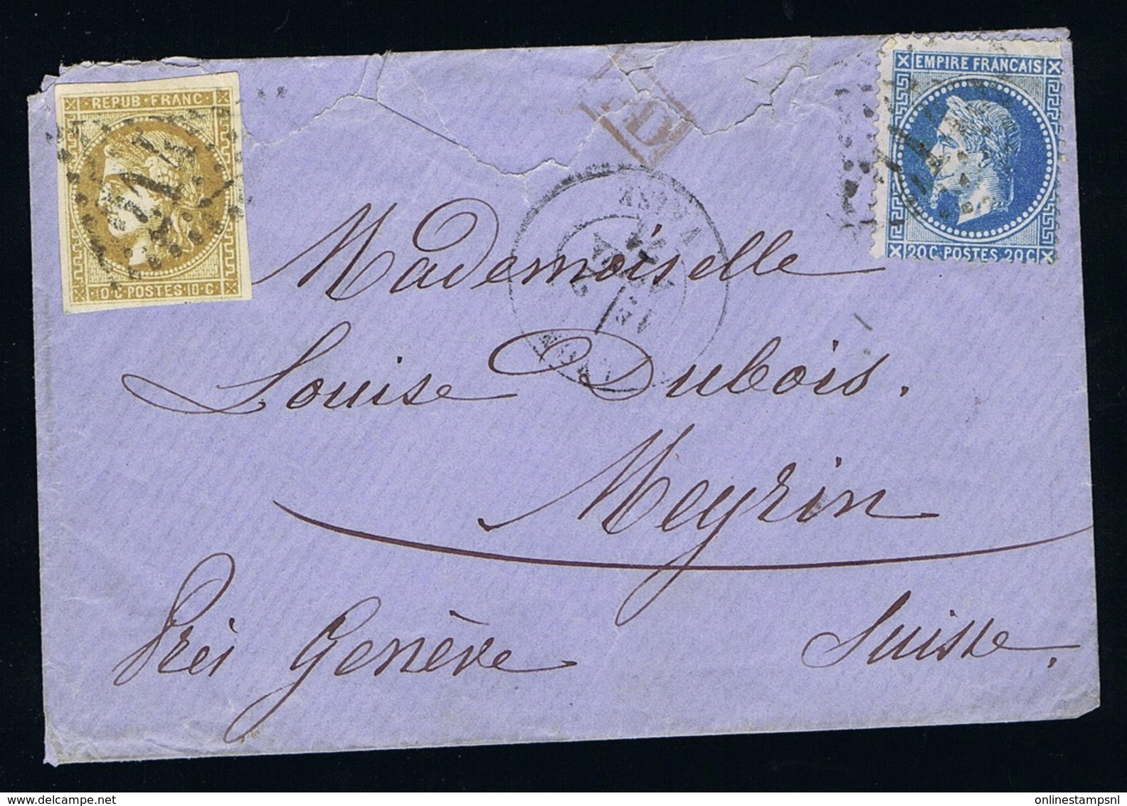 France Cover Early Tranitional Period 1871 Yv 43 + 29 Astra -> Meyrin Suisse  PD In Red  Meyrin Arrival Cancel - 1870 Uitgave Van Bordeaux