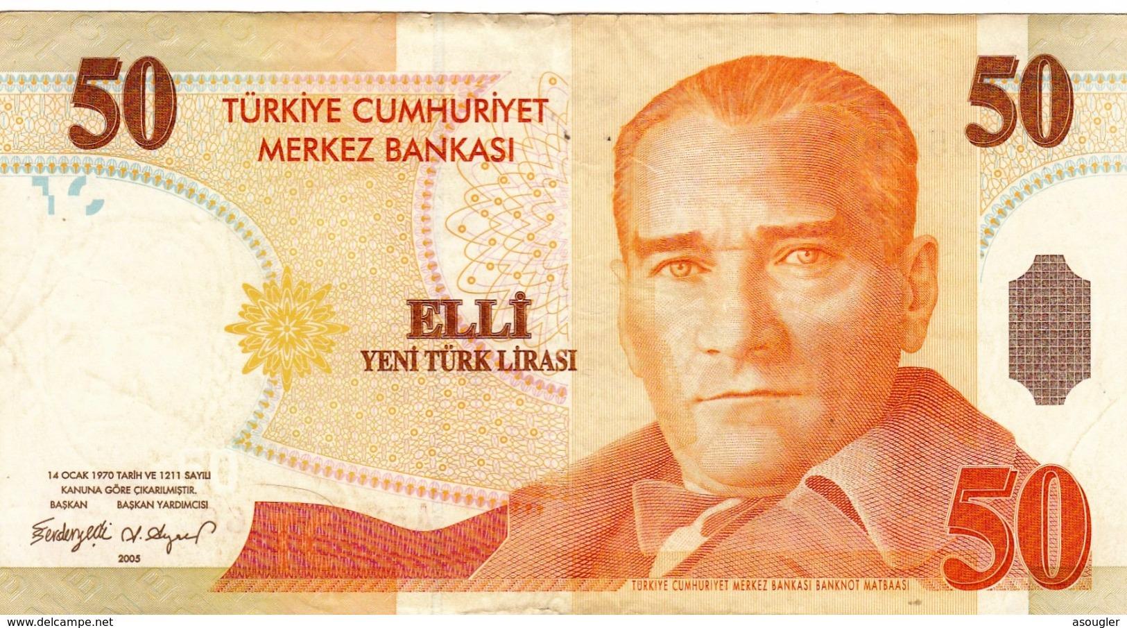"""TURKEY 50 LIRA 2005 PREFIX """"A"""" VF P-220 """"free Shipping Via Registered Air Mail"""" - Turkije"""