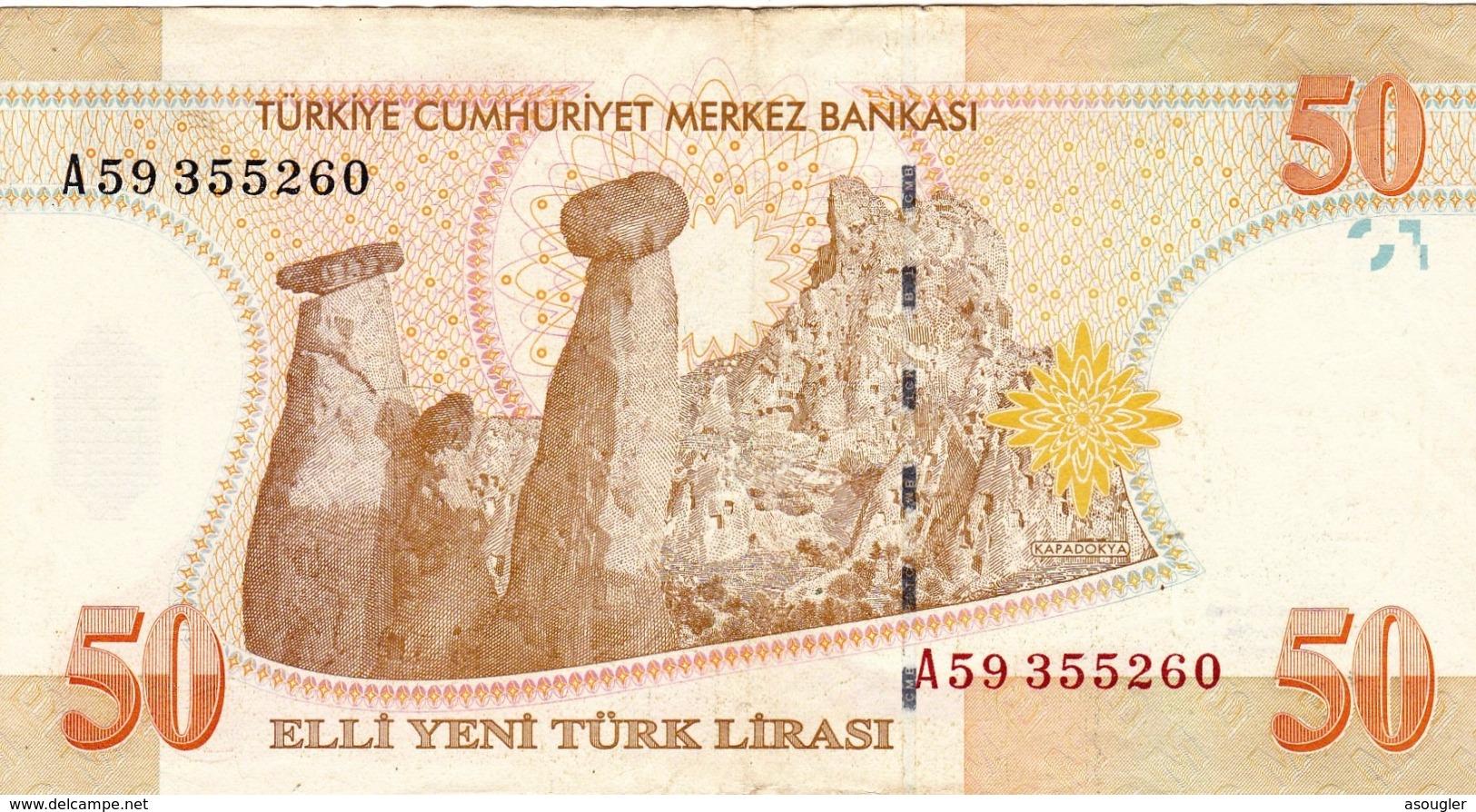 """TURKEY 50 LIRA 2005 PREFIX """"A"""" VF P-220 """"free Shipping Via Registered Air Mail"""" - Turkey"""