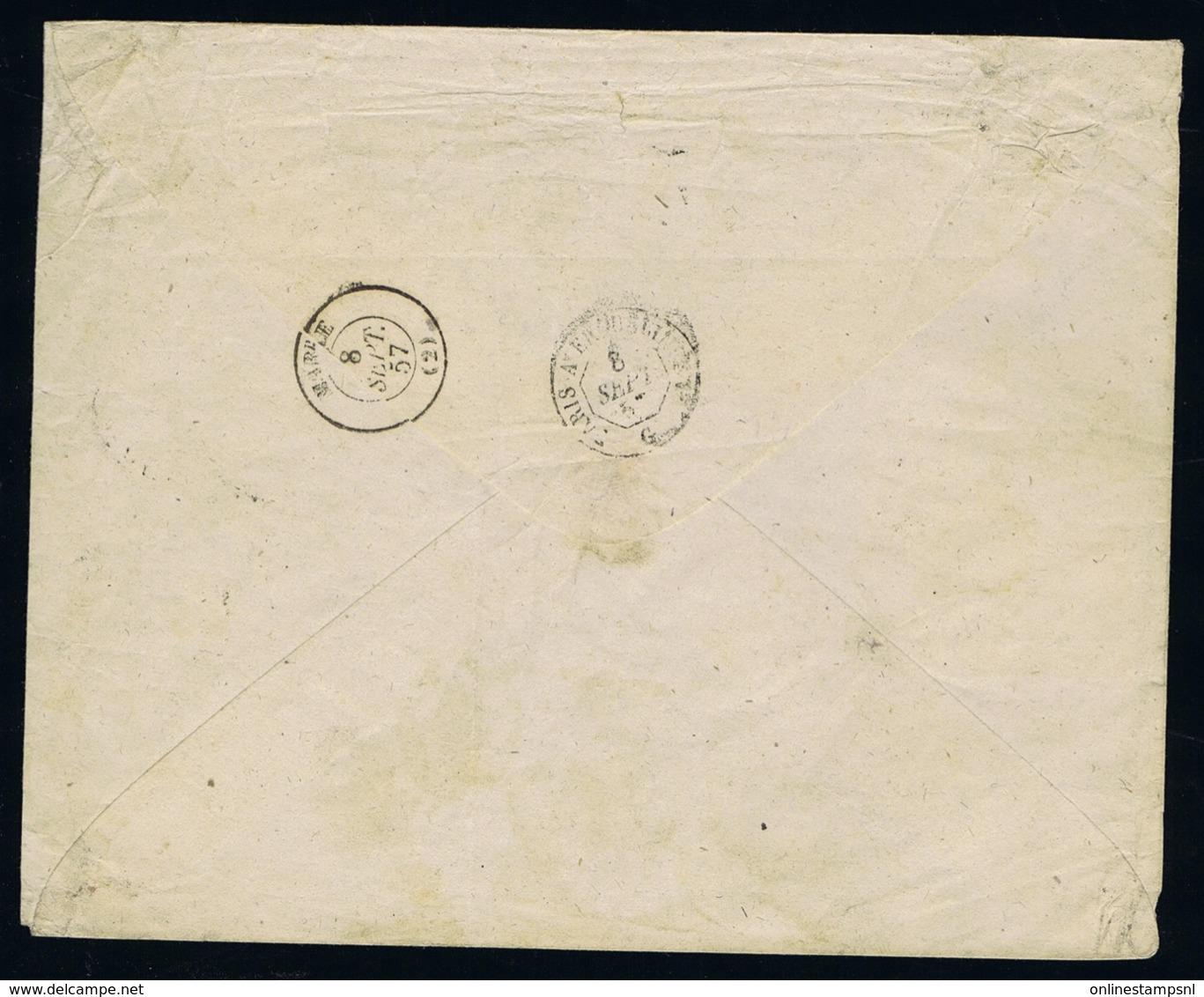 France Cover Yv 14 4-block Paris -> Marle 7-9-1857 Lozegne Blind / Dumb - 1853-1860 Napoleon III