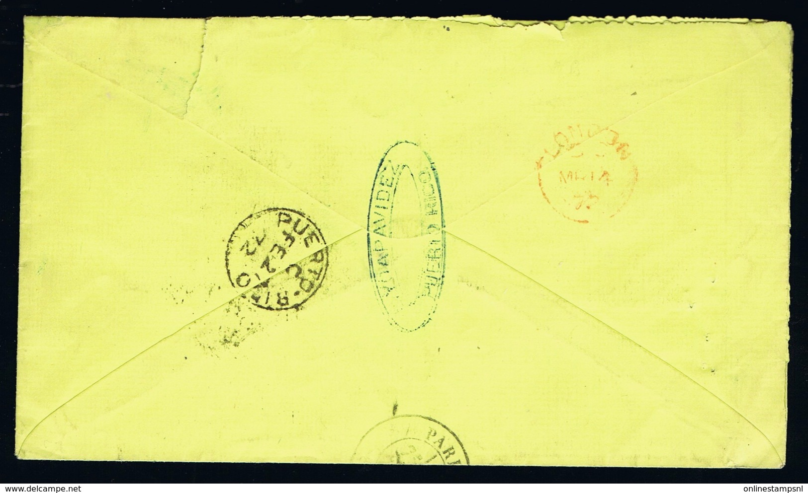 Spanish Puerto Rico Cover 1872 -> London ->Paris GB 1F 60 C   GBPO Stamp Was Not Used In This Period See Text 3th Image - Puerto Rico