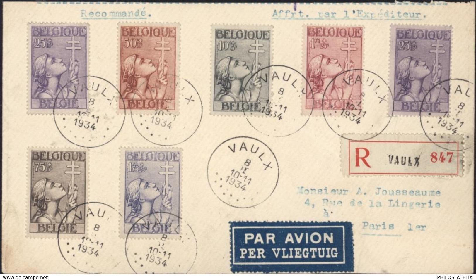 Recommandé YT 377 à 382 Dont 378x2 CAD Vaulx 8 II 34 Par Avion Profit Oeuvres Antituberculeuses Tuberculose - Belgique