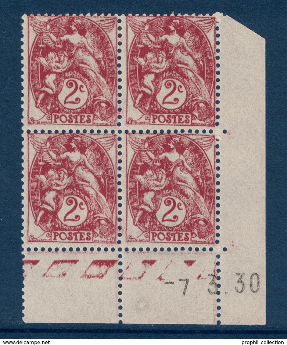 TIMBRE TYPE BLANC N° 108 En BLOC DE 4 TIMBRES NEUFS ** COIN DATÉ Du 7.3.30 (1930) - 1900-29 Blanc