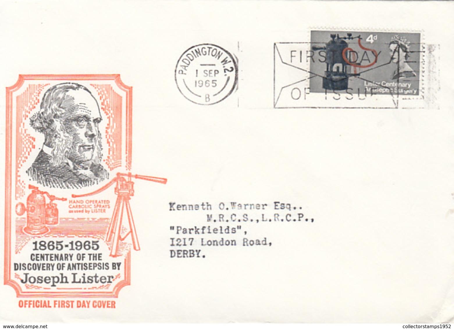 83543- JOSEPH LISTER, DISCOVERY OF ANTISEPSIS, MEDICINE, HEALTH, COVER FDC, 1965, UK - Medicina