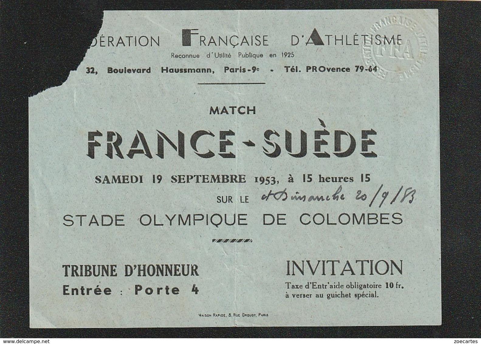 Ticket Entrée FEDERATION FRANCAISE D ATHLETISME Match FRANCE SUEDE 1983 STADE DE COLOMBES ( TTB TENUE ) Ti 10 - Tickets - Entradas