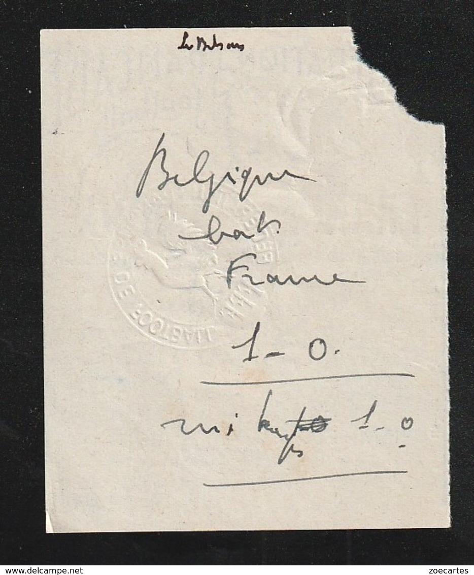 Ticket Football  FRANCE BELGIQUE  1952  Stade Colombes BELGIQUE  Bat FRANCE MARATHON ( Très Très Bonne TENUE ) Ti10 - Tickets - Entradas