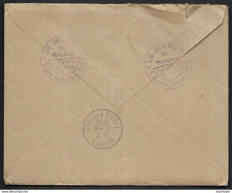 LF D27 Enveloppede 1956 De Paris Timbres N°1076x2, 1077 - Marcofilie (Brieven)