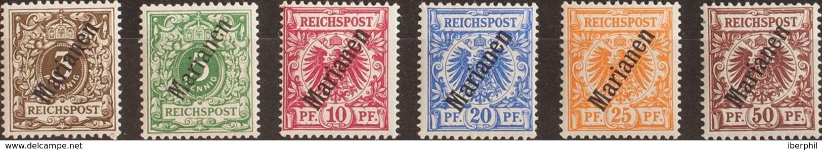 Marianas. MNH **Yv 1/6A. 1899. Serie Completa (56º). MAGNIFICA Y RARA SIN FIJASELLOS. (Mi1/6II 650 Euros) - Islas Maríanas