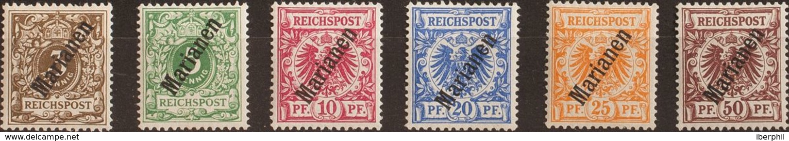 Marianas. MH *Yv 1/6A. 1899. Serie Completa (56º). MAGNIFICA. (Mi1/6II 230 Euros) - Islas Maríanas