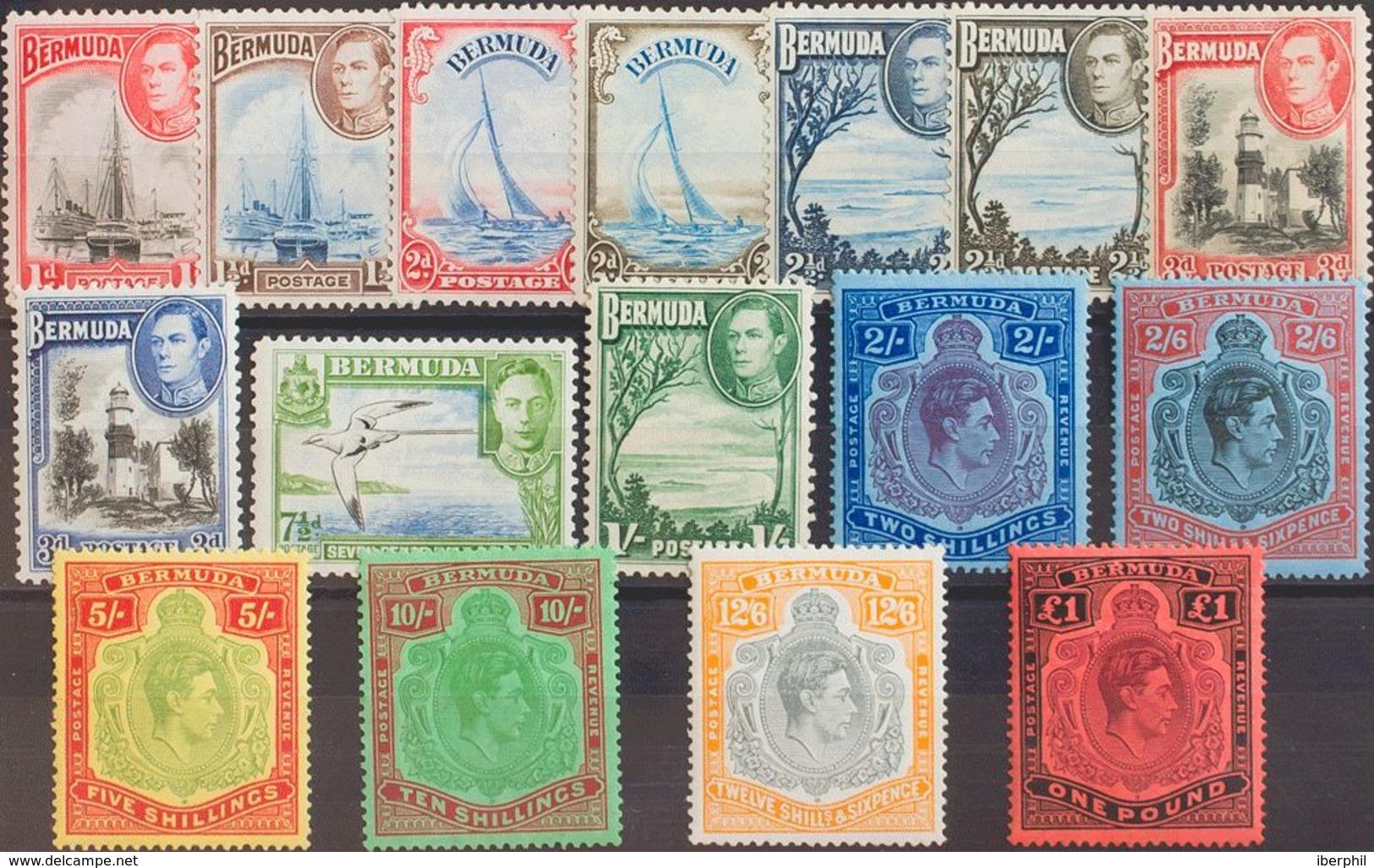 Bermudas. MNH **Yv 104/13, 114/19B. 1934. Serie Completa, Dieciseis Valores (de Los Valores 2 Sh Al 1£ Con Dentado 14). - Bermudas