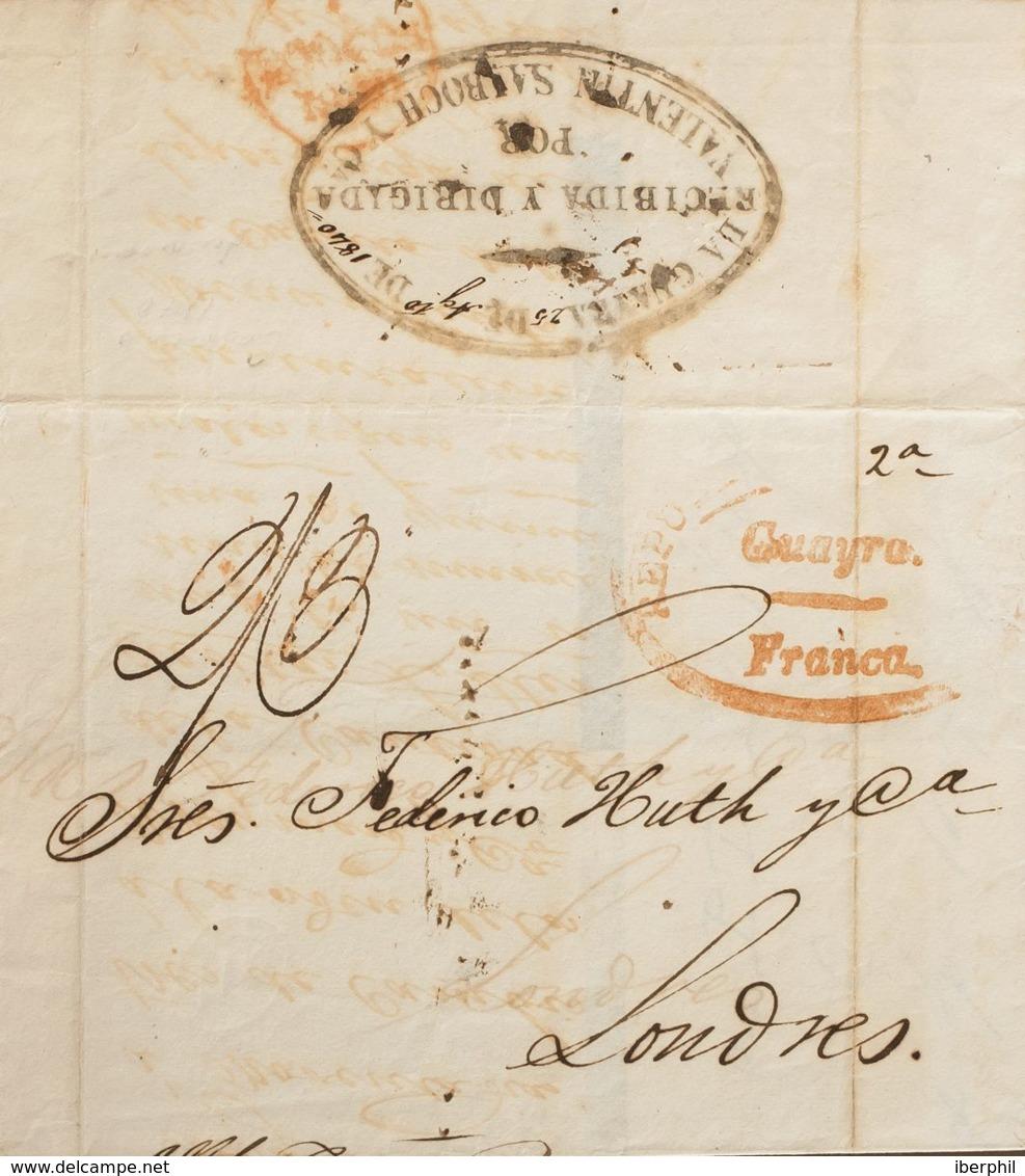 Venezuela, Prefilatelia. Sobre Yv . 1840. CARACAS A LONDRES. Marca REPUBLICA DE COLOMBIA / GUAYRA / FRANCA, En Rojo Y Po - Venezuela