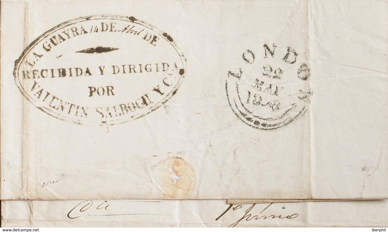 Venezuela, Prefilatelia. Sobre Yv . 1838. CARACAS A LONDRES. Marca REPUB. DE COLOMBIA / GUAYRA / FRANCA, En Rojo Y Al Do - Venezuela