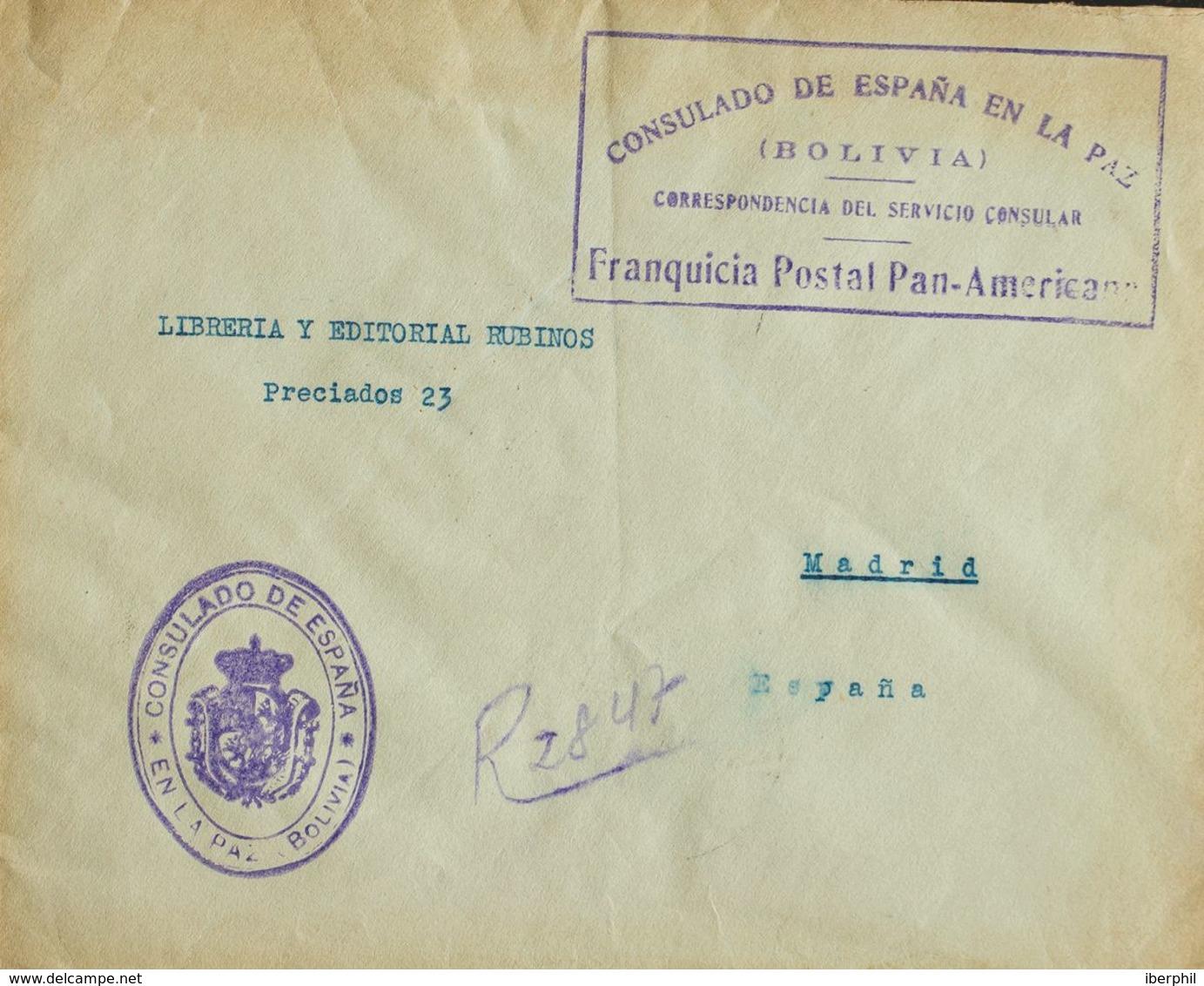 Bolivia. Sobre Yv . 1926. Certificado De LA PAZ (BOLIVIA) A MADRID. Marca De Franquicia CONSULADO DE ESPAÑA EN LA PAZ / - Bolivia