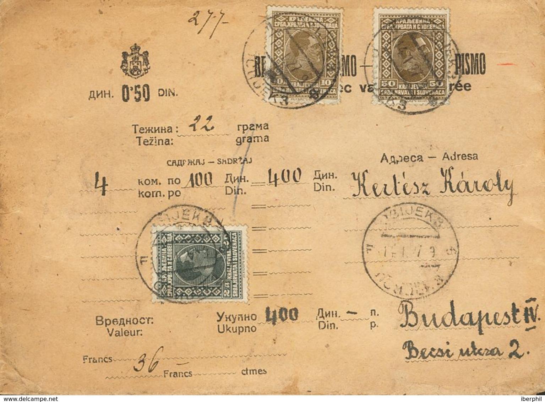 Yugoslavia. Sobre Yv 171(2), 173. 1927. 50 P Sepia, Dos Sellos Y 2 D Gris Negro. Valor Declarado De OSIJEK A BUDAPEST (H - Sin Clasificación