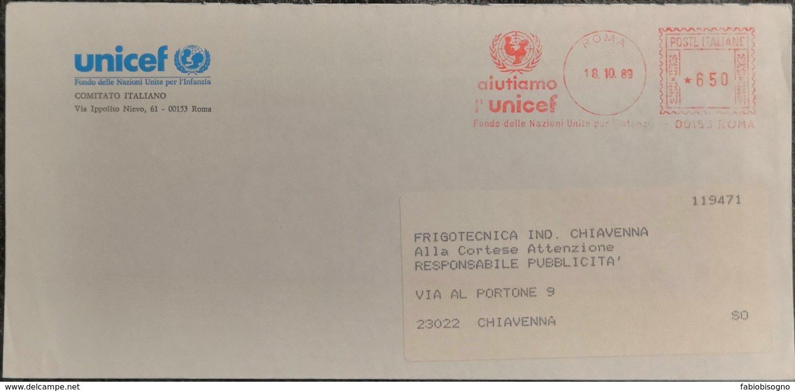 1989 Italy - Aiutiamo L' UNICEF 650 EMA Meter -  Used Stamp On Cover To Italy - Contro La Fame