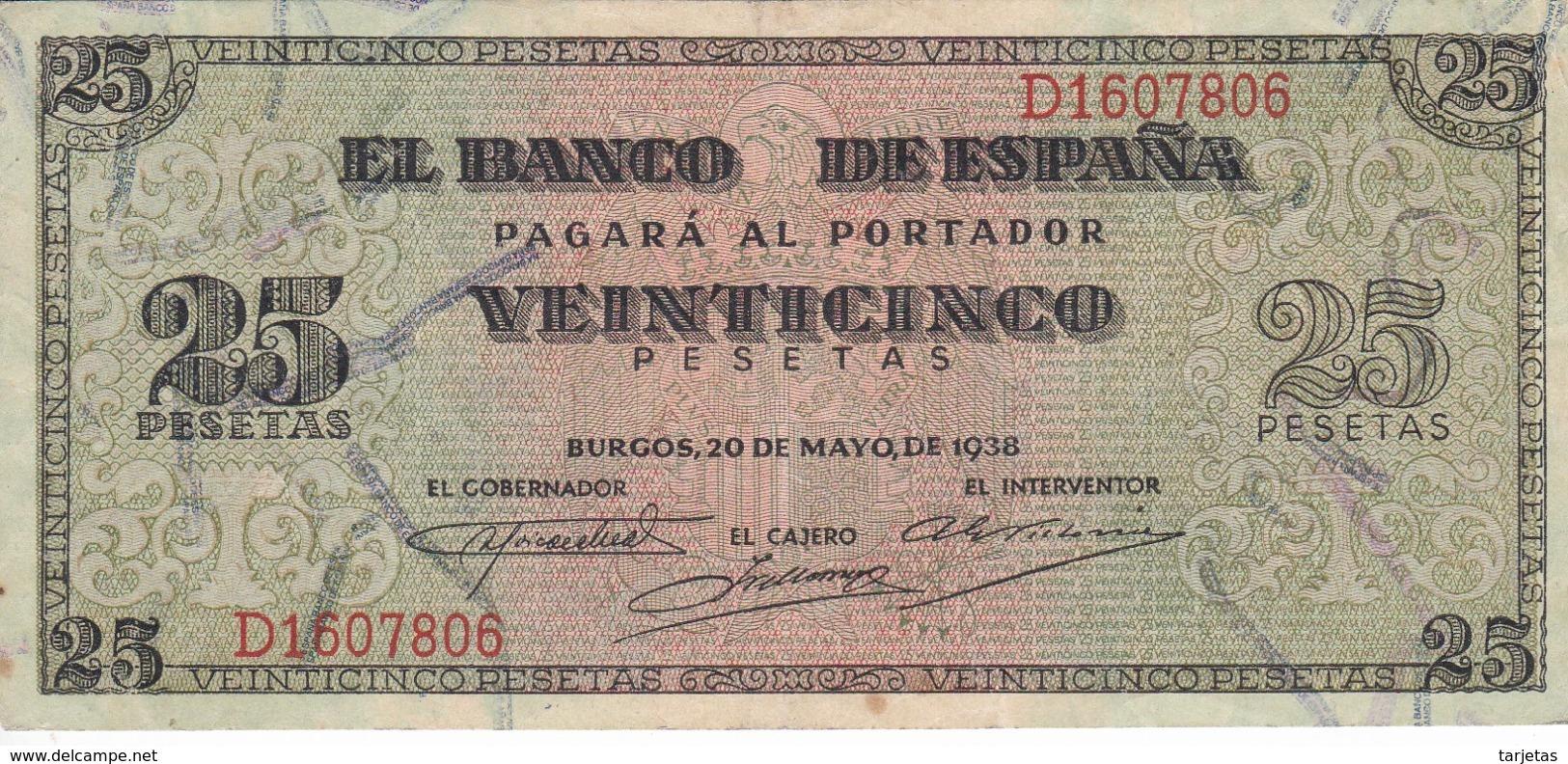 BILLETE DE BURGOS DE 25 PTAS DEL 20/05/1938 SERIE D EN CALIDAD EBC (XF) (BANKNOTE) - [ 3] 1936-1975 : Regime Di Franco