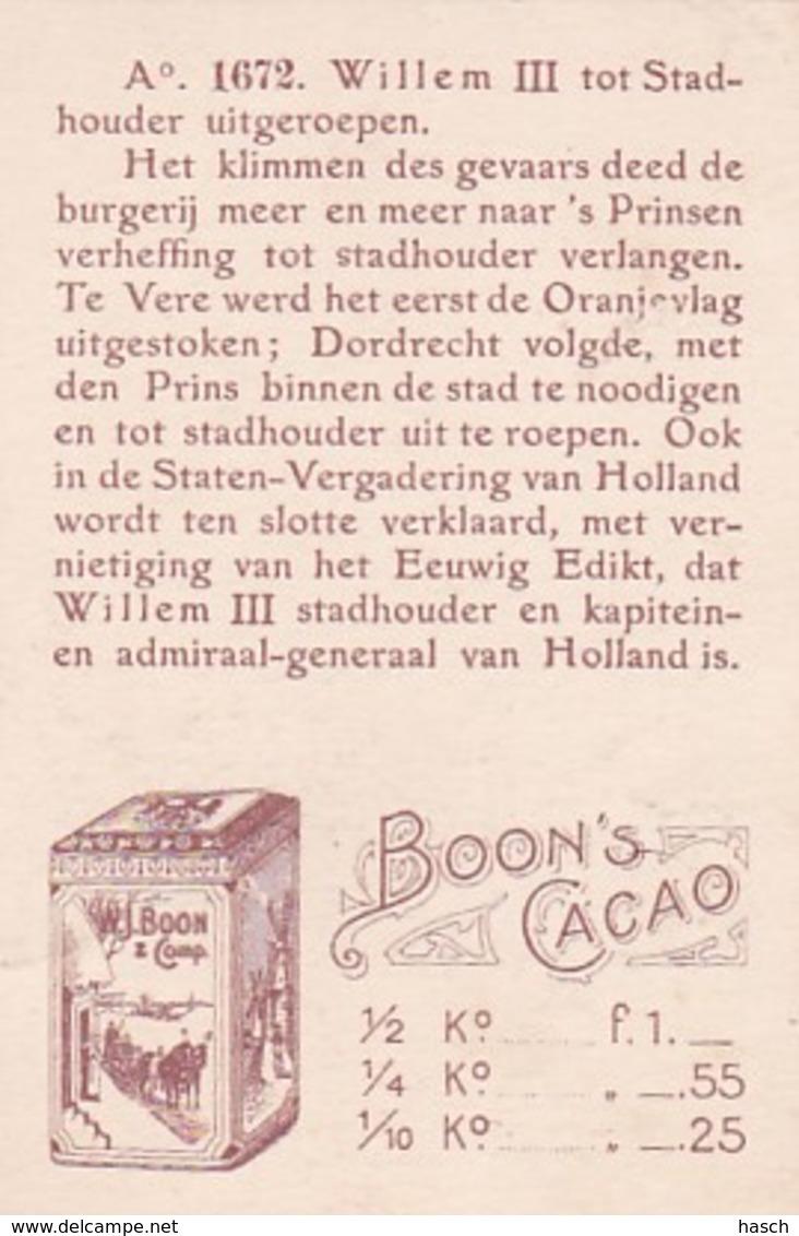1937122Boon's Cacao, Wormerveer. Ao. 1672. Willem III Tot Stadhouder Uitgeroepen. - Chocolat