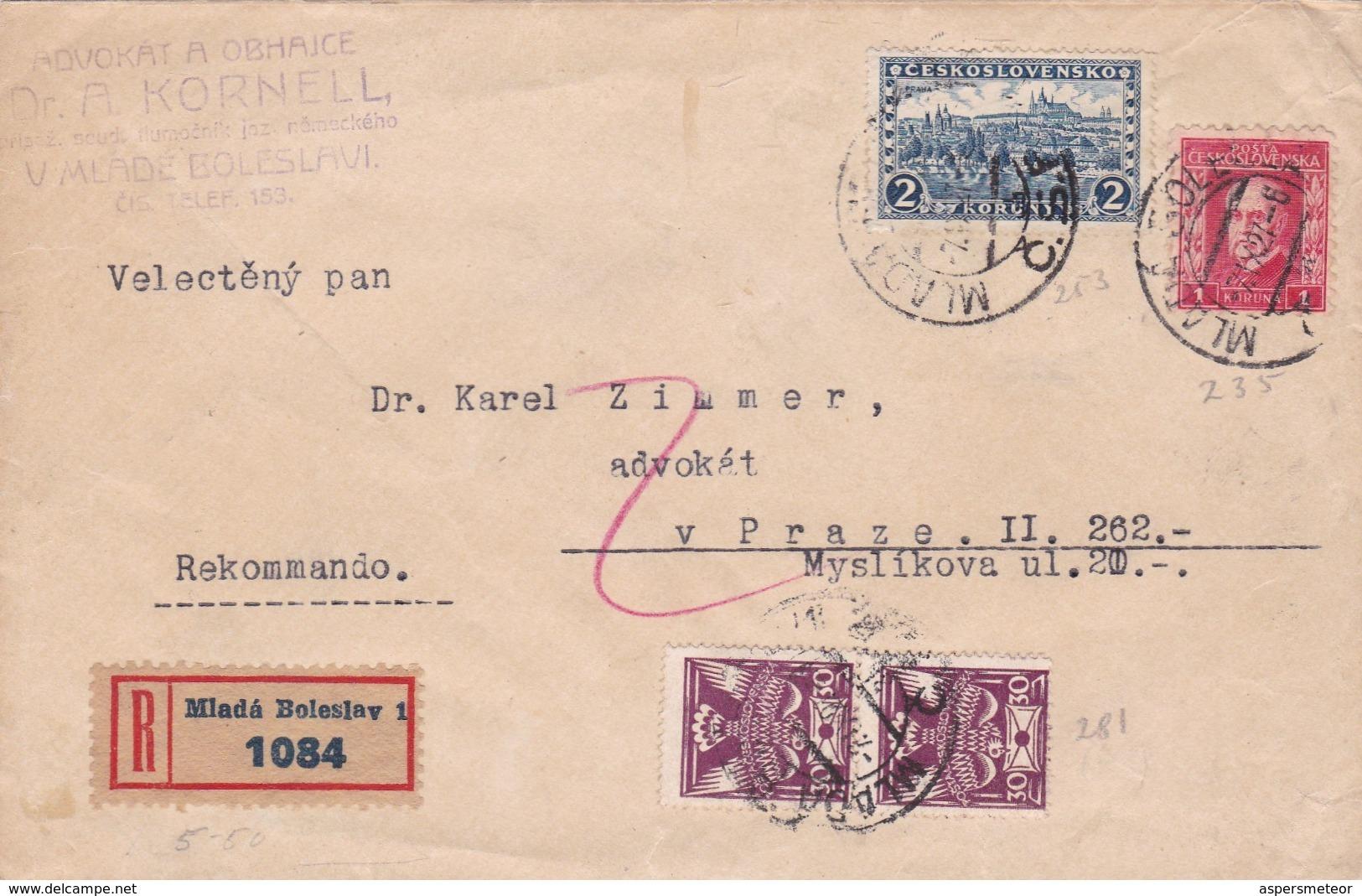 CESKOSLOVENSKO ENVELOPPE CIRCULATED FROM MLADE BOLESLAVI TO MYSLIKOVA. YEAR 1927 REGISTRED -LILHU - Tschechoslowakei/CSSR