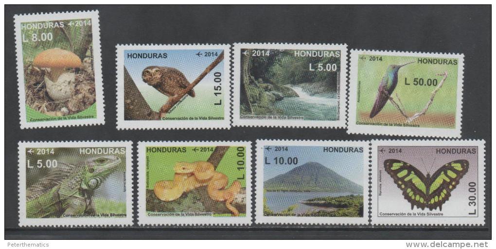 HONDURAS, 2014,MNH,CONSERVATION, BIRDS, OWLS,REPTILES, SNAKES, IGUANA, MOUNTAINS, WATERFALLS, MUSHROOMS, BUTTERFLIES, 8v - Serpents