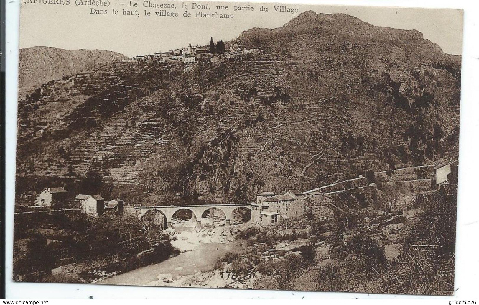 Lafigères , Le Chasezac , Le Pont , Dans Le Haut Le Village De Planchamp - France