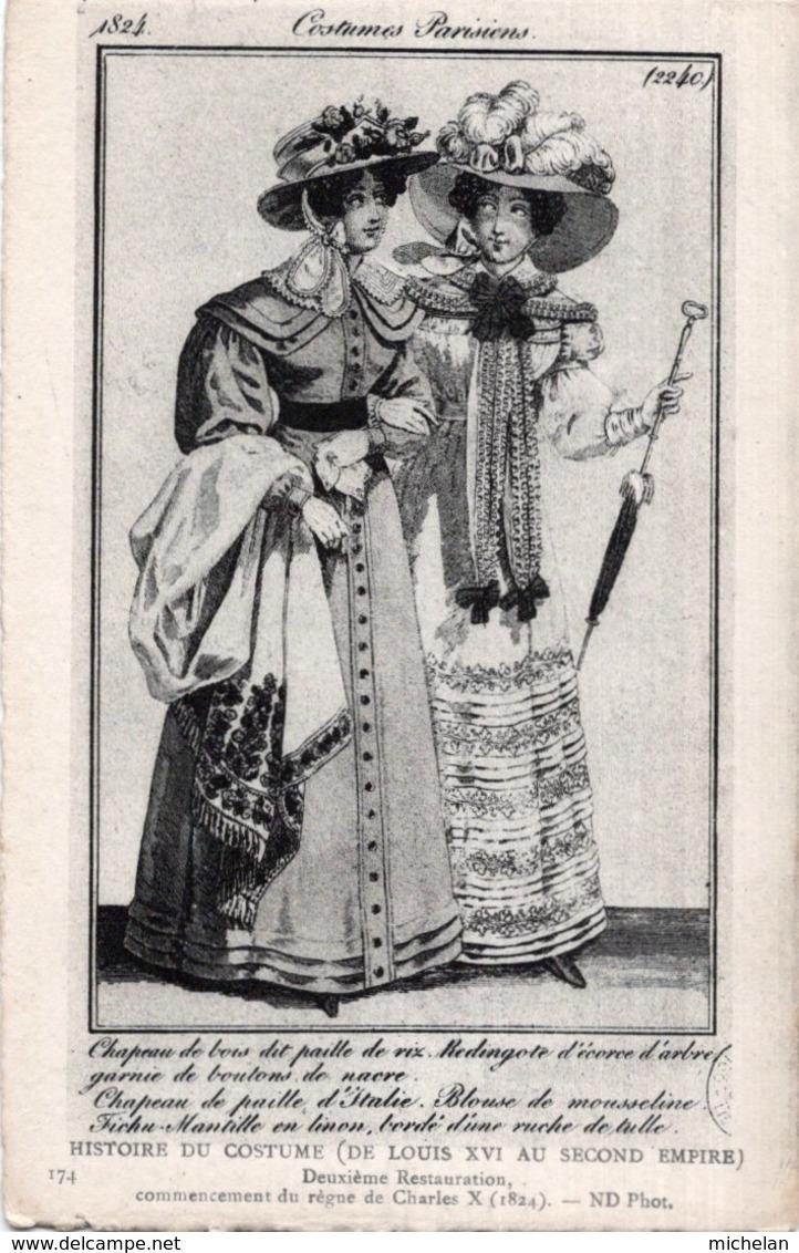 CPA   HISTOIRE DU COSTUME---COSTUMES PARISIENS---CHAPEAU DE BOISD DIT PAILLE DE RIX---REDINGOTE D'ECORCE D'ARBRE - Moda
