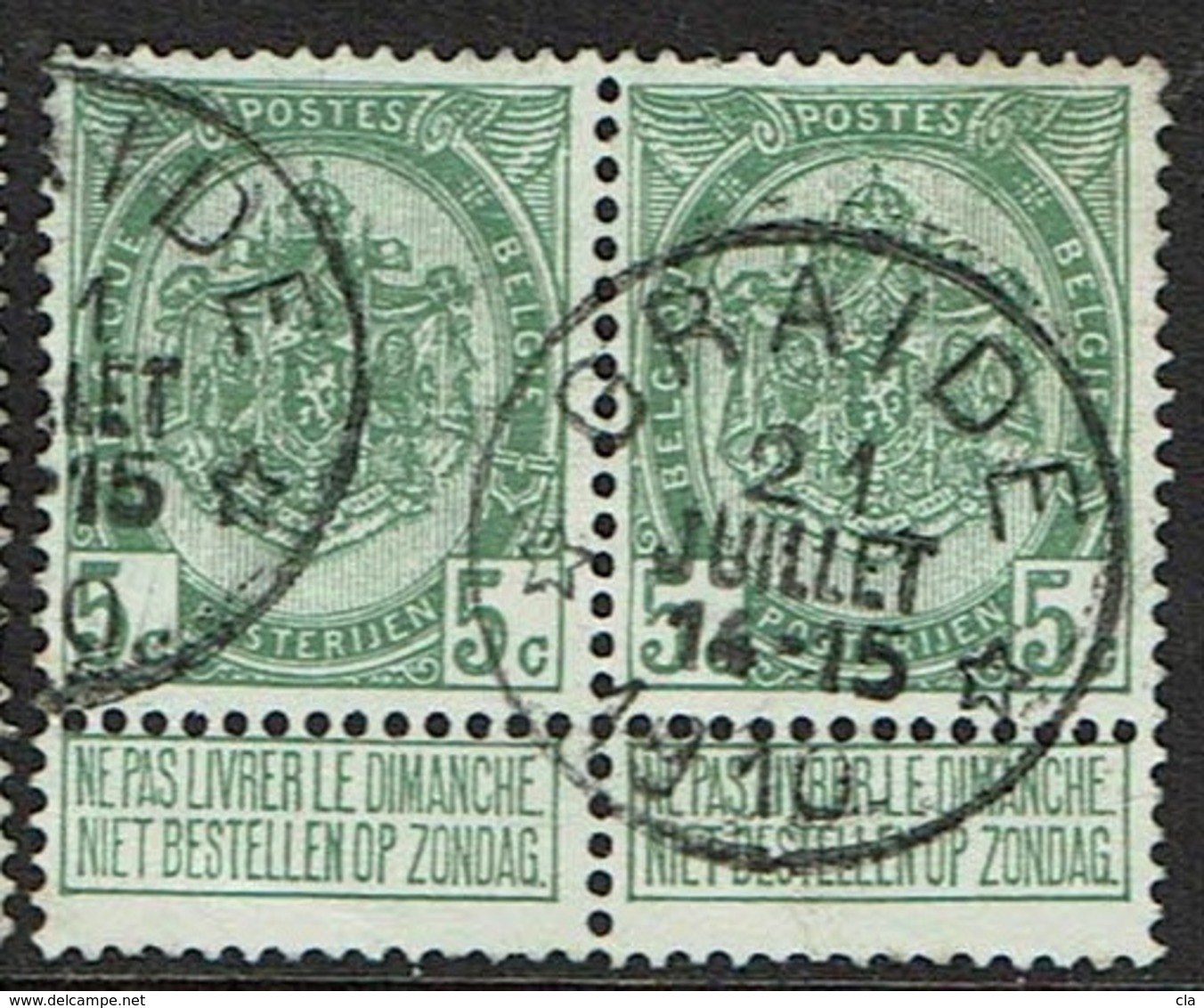 56 Paire  Obl Relais Graide +30 X 2 - 1893-1907 Coat Of Arms