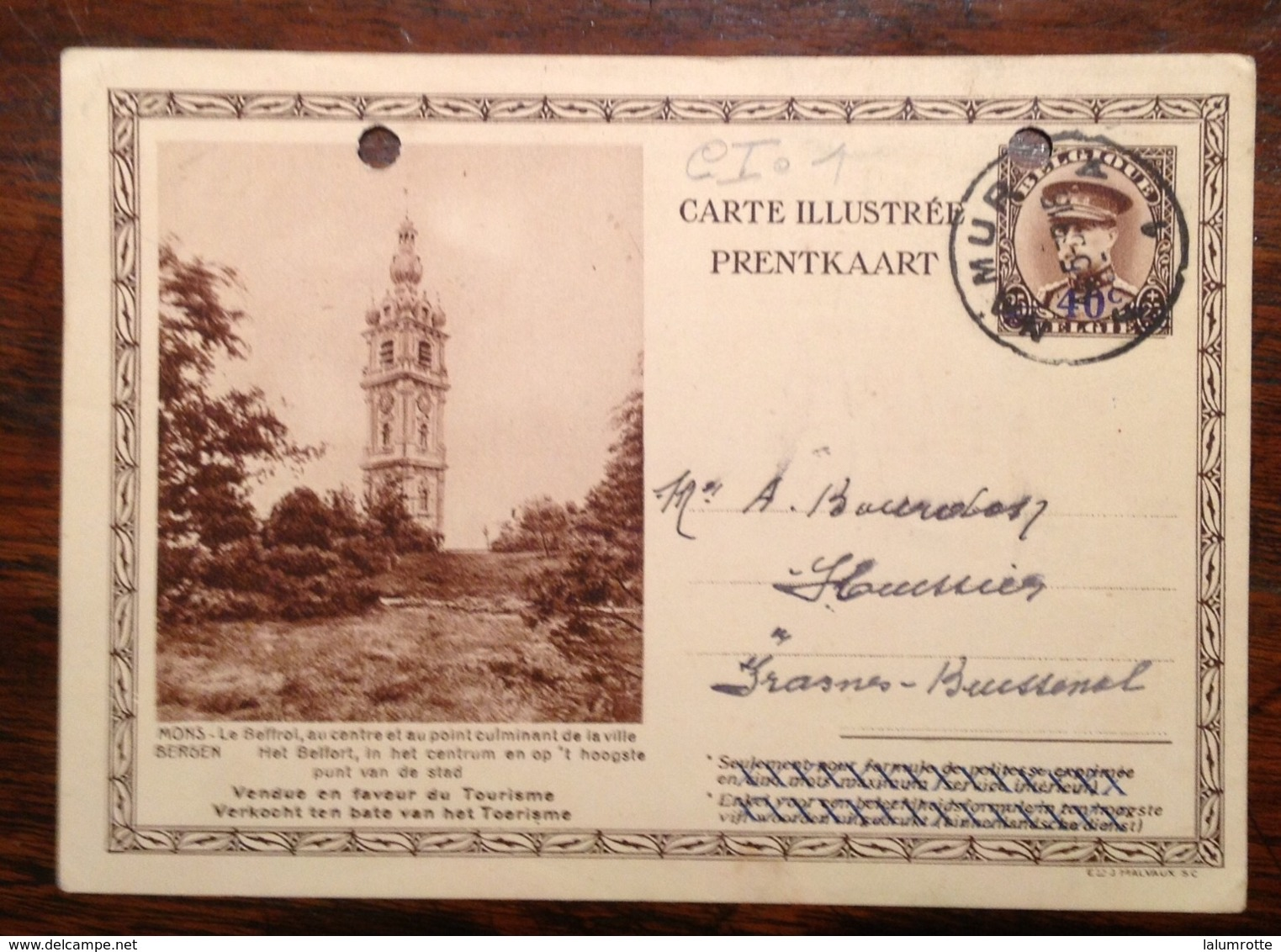 CI. 1. Mons Le Beffroi 1939 - Stamped Stationery